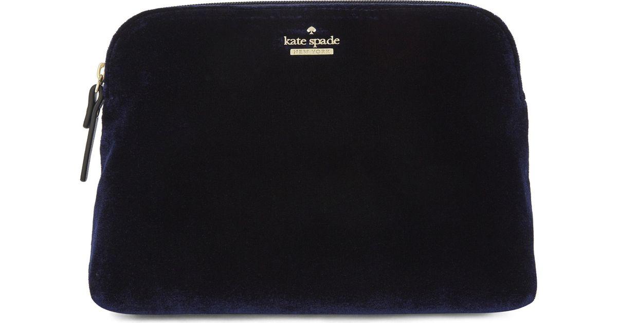 7bdbc9e9db Lyst - Kate Spade Watson Lane Briley Small Velvet Make-up Bag in Black