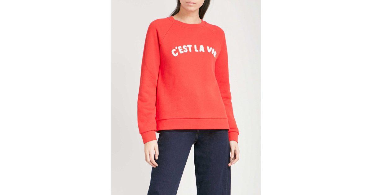 Lyst Whistles Cest La Vie Cotton Jersey Sweatshirt In Red