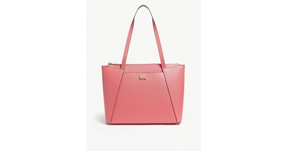 39d9484f78a0 Lyst - MICHAEL Michael Kors Michael Kors Rose Pink Maddie Leather Tote Bag  in Pink