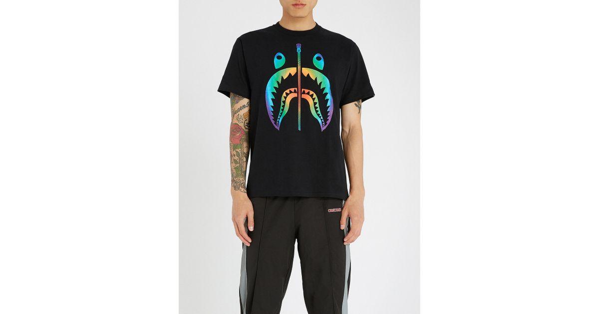 380b463a90f65a A Bathing Ape Rainbow Shark Cotton-jersey T-shirt in Black for Men - Lyst