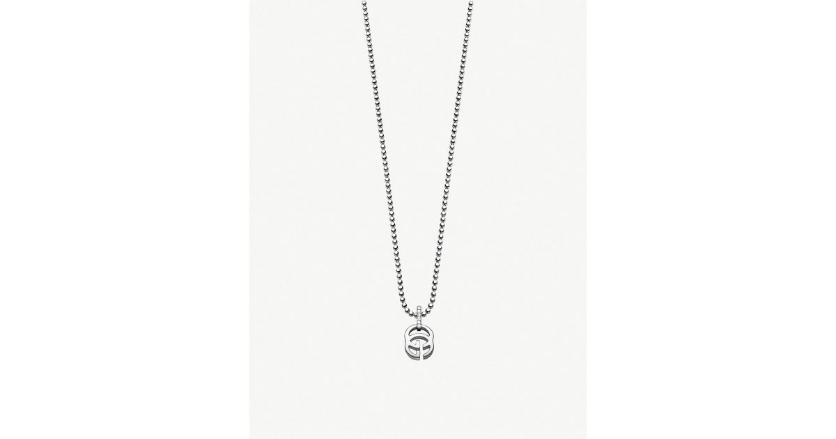 27fdbd5fb Gucci Running G 18ct White Gold And Diamond Necklace in White for Men - Lyst