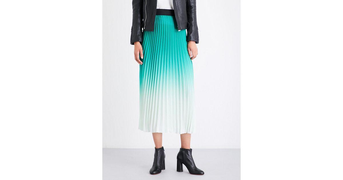 2ec50022ea Maje Jonael Pleated Crepe Midi Skirt in Green - Lyst