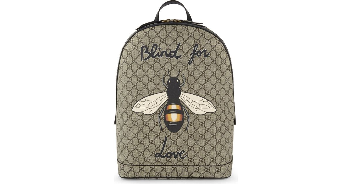 d602ce559172 Gucci Bee Print Gg Supreme Backpack in Natural - Lyst