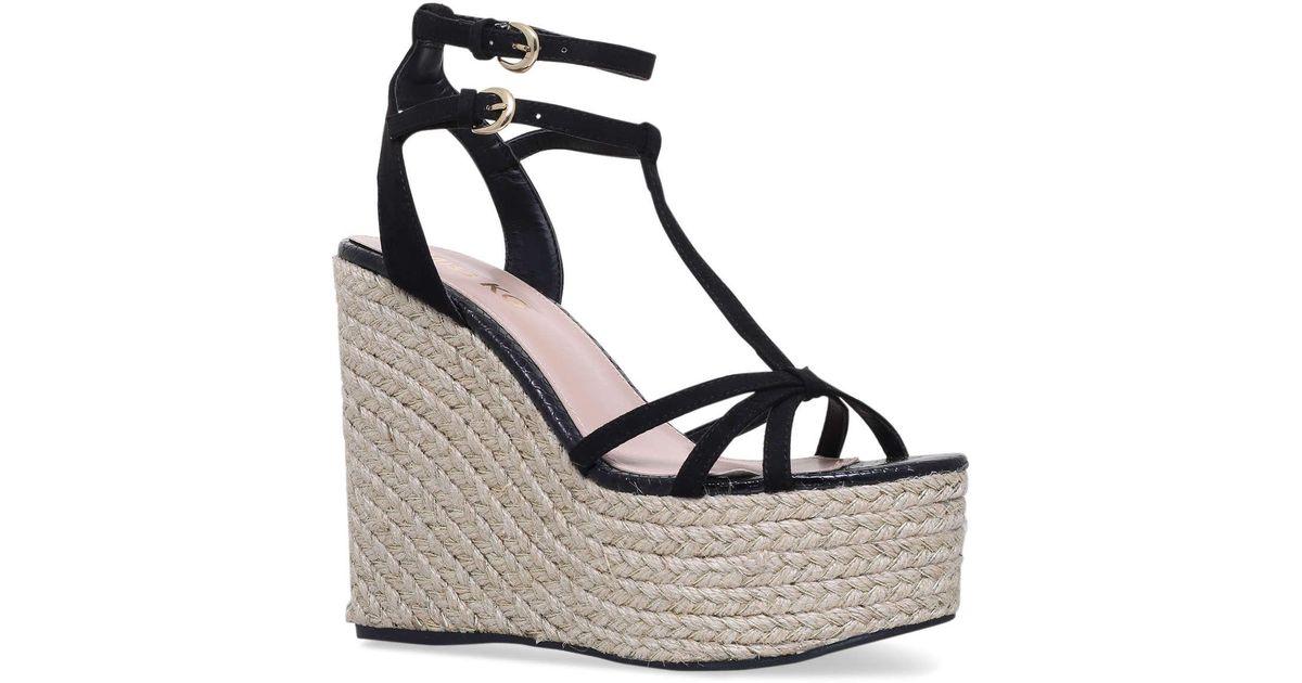 4110f86d07f Miss Kg Black  pamela  High Heel Wedge Sandals in Black - Lyst