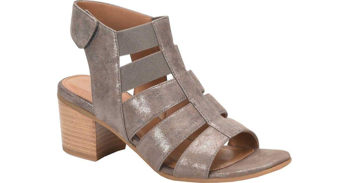 Comfortiva Alexis Metallic Suede Gladiator Block Heel Sandals lXhIZX