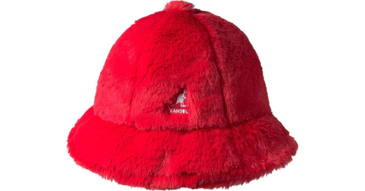 Lyst - Kangol Faux Fur Casual Bucket Hat in Red - Save 2% ef1a6cc8fe9