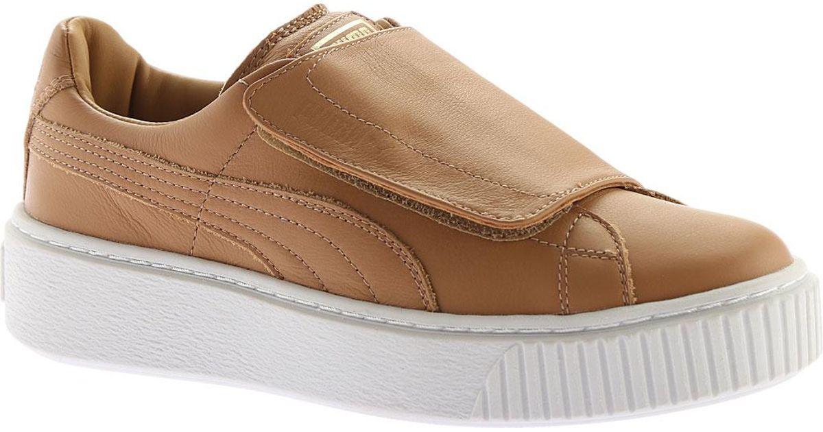 aa3b0d72ce6 Lyst - PUMA Basket Platform Strap Sneaker in Brown