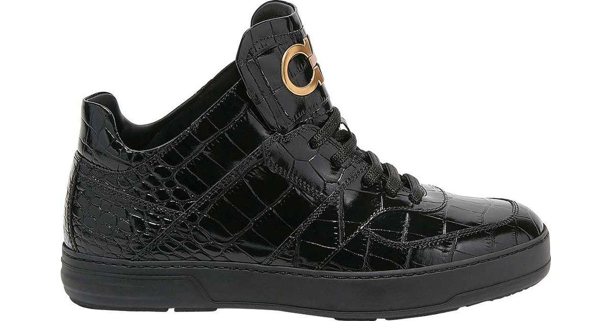 c3e6176454d6a Lyst - Ferragamo Monroe Paneled Gancio Leather Sneaker in Black for Men