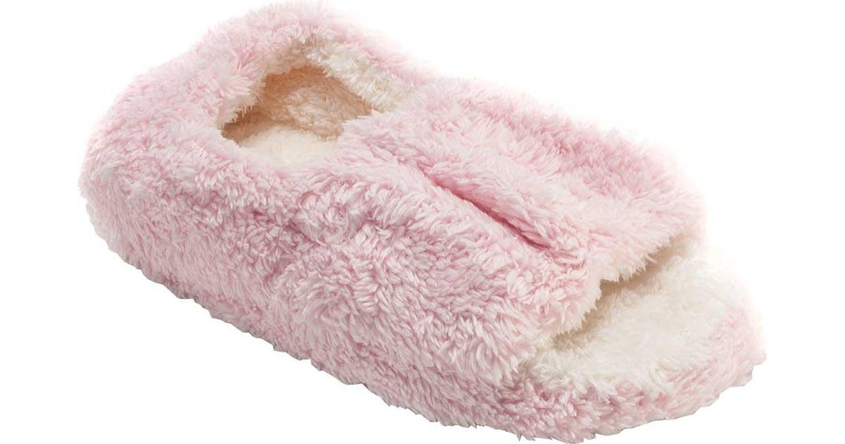 dc77c725555 Lyst - Muk Luks Micro Terry Open Toe Full Foot Slippers in Pink