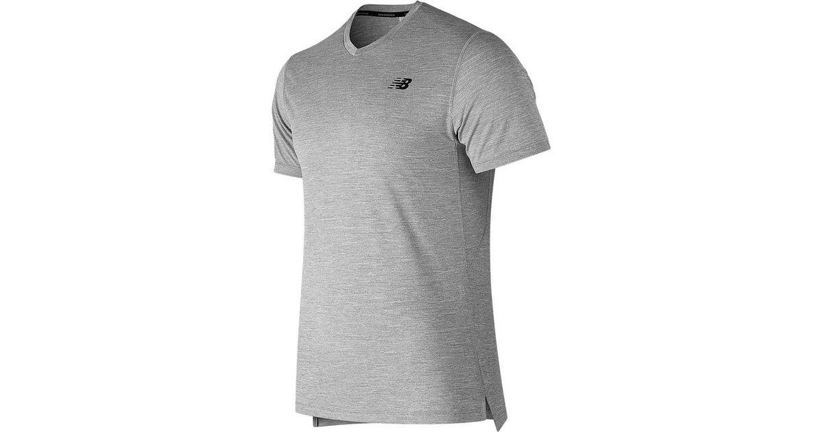 3e00cf7a60246 New Balance Mt91091 Tenacity V Neck Short Sleeve Tee in Gray for Men - Lyst
