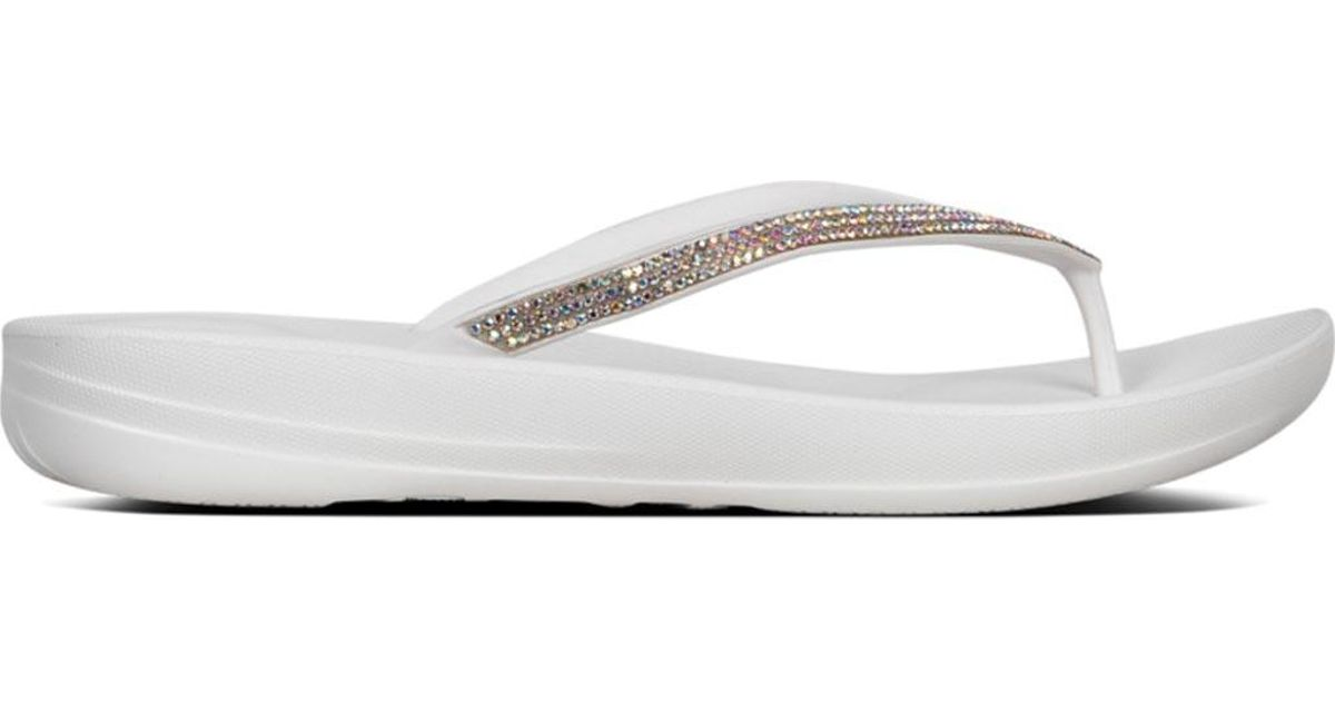 87f6492f2 Lyst - Fitflop Iqushion Sparkle Flip Flop in White
