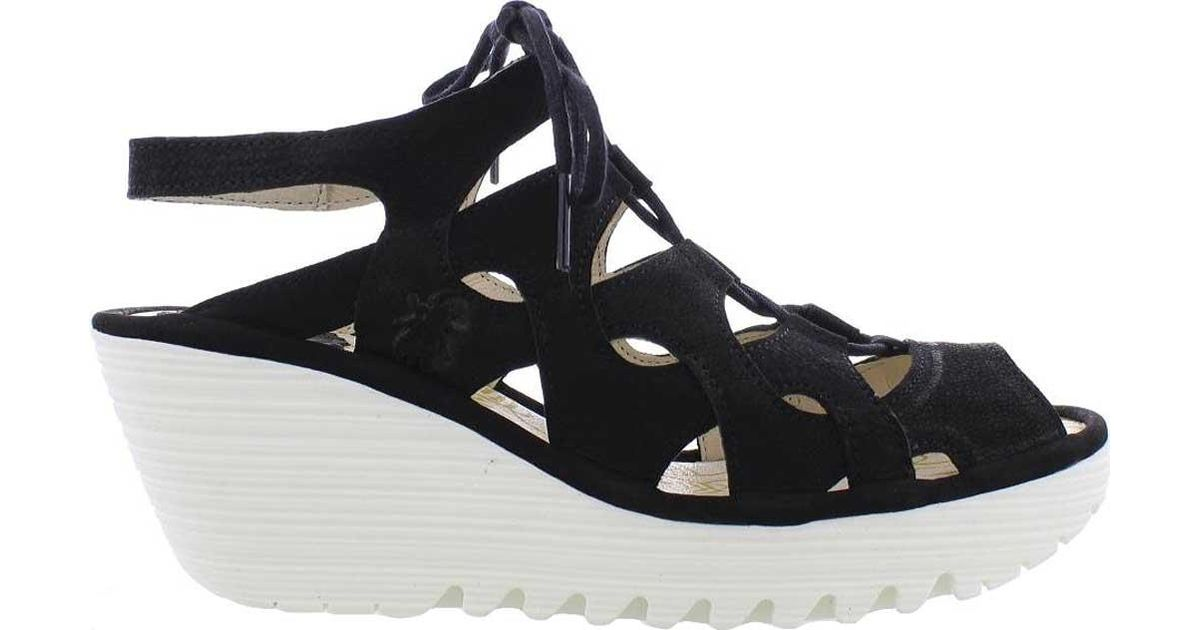 979e0633 Fly London Yexa916fly Cage Wedge Sandal in Black - Lyst