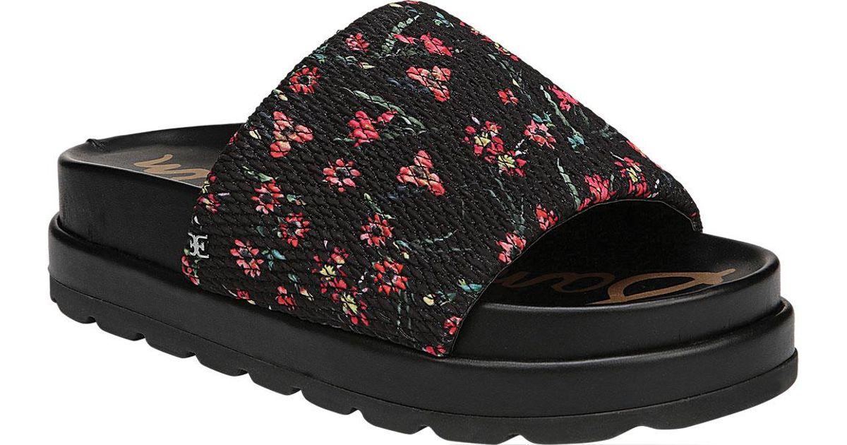 5f4eee4df9e0 Lyst - Sam Edelman Shaye Smocked Flatform Slide Sandals in Black - Save 46%