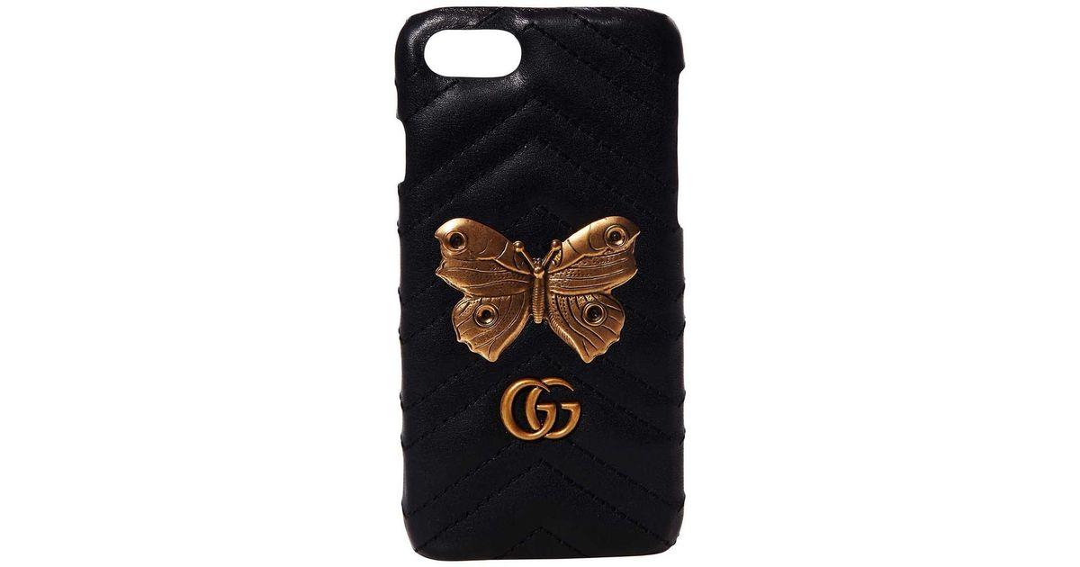b7a9b5a0827 Lyst - Gucci Black Gg Marmont Moth Stud Iphone 7 Case in Black