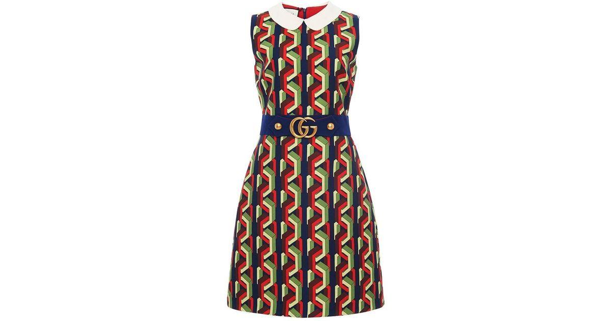 dfc9b144a Gucci Multicolor Web Chain Print Dress in Black - Lyst
