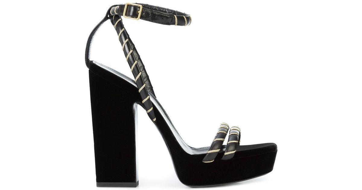 03f8ff95fa7 Saint Laurent Black/gold Debbie Platform Heel Sandal in Black - Lyst
