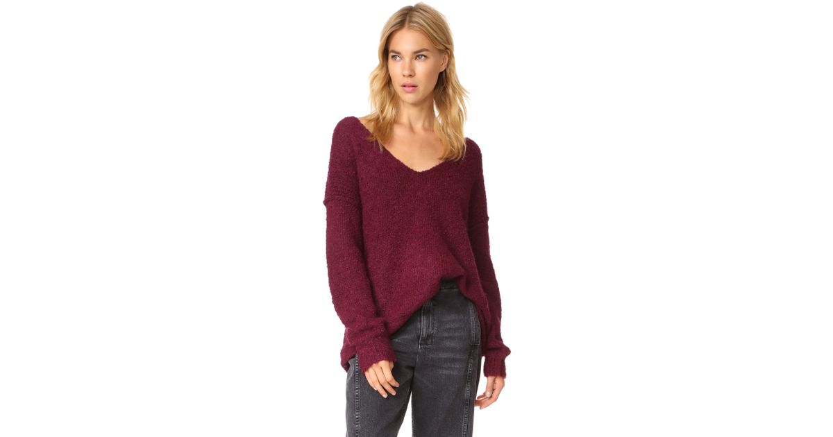 Lyst Free People Lofty V Neck Sweater In Red