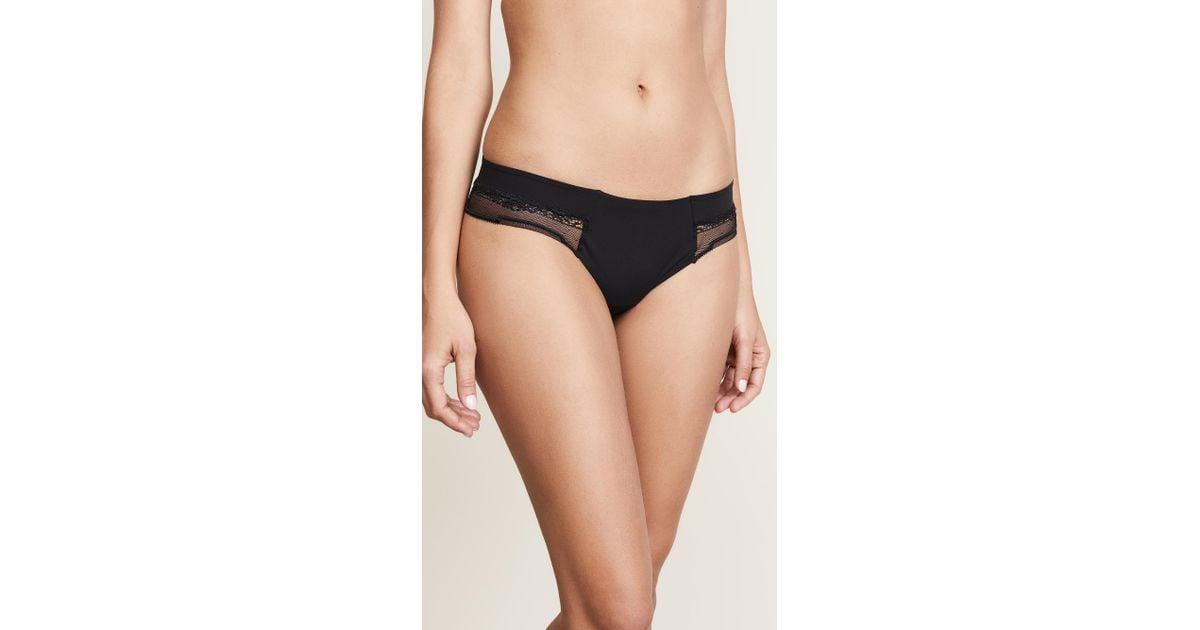 ed3392bd741 Lyst - Calvin Klein Ck Black Garden Stripe Lace Thong in Black