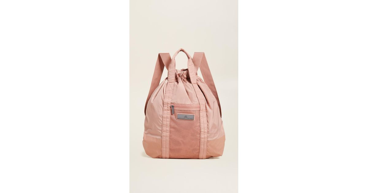 Lyst - adidas By Stella McCartney Gym Sack Backpack in Pink fb0bef7ea7
