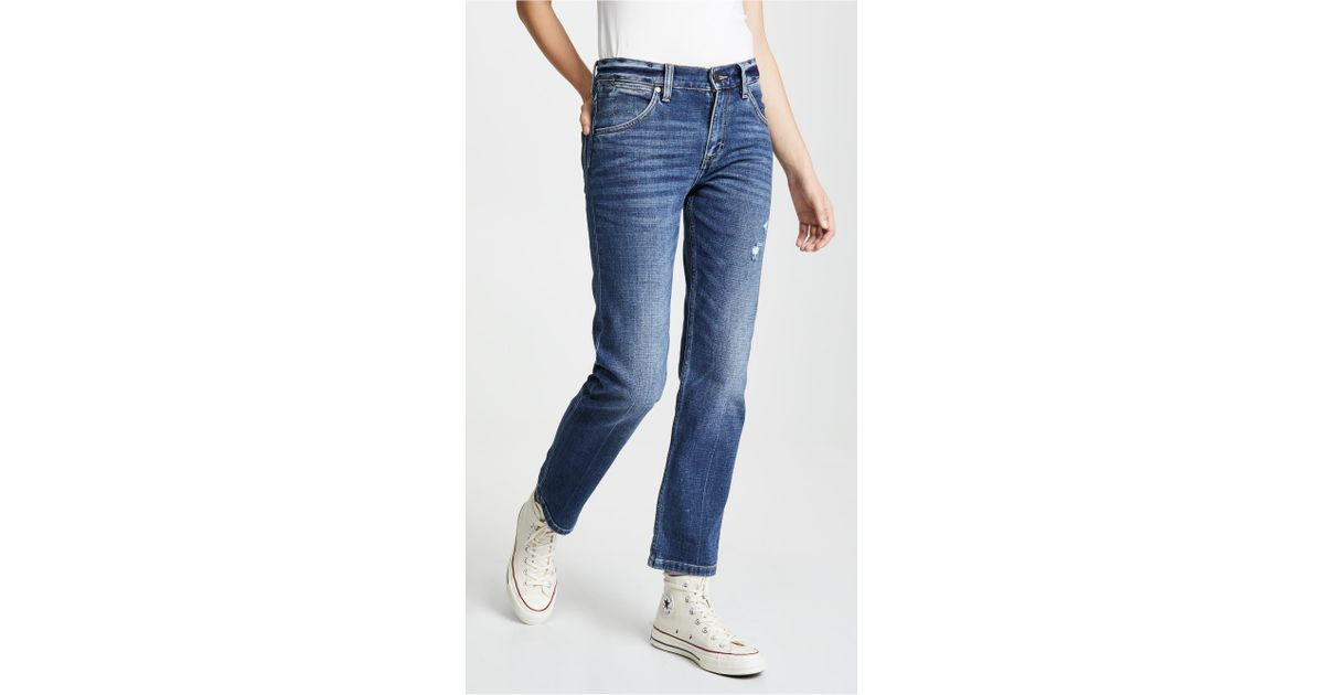 3db943f2 Wrangler High Rise Boyfriend Jeans in Blue - Lyst