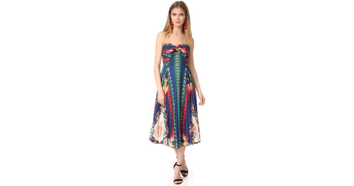 b6da6ce5195 Anna Sui New York Print Pleated Strapless Dress in Blue - Lyst