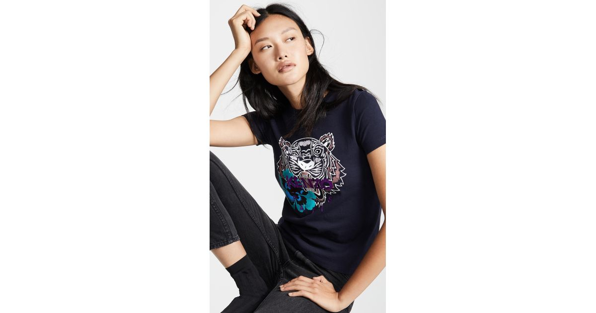 a119715d KENZO Flower Tiger Relax T Shirt in Blue - Lyst