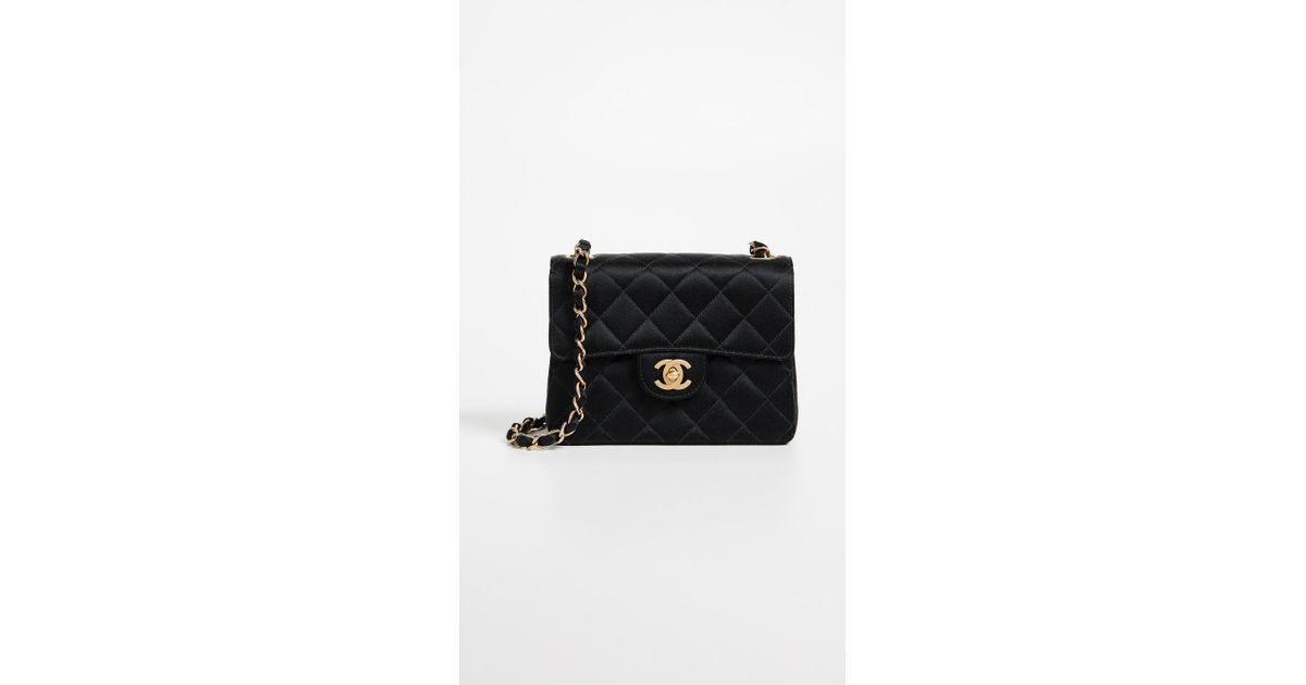755774be53e42c What Goes Around Comes Around Chanel Satin Half Flap Mini Bag in Black -  Lyst