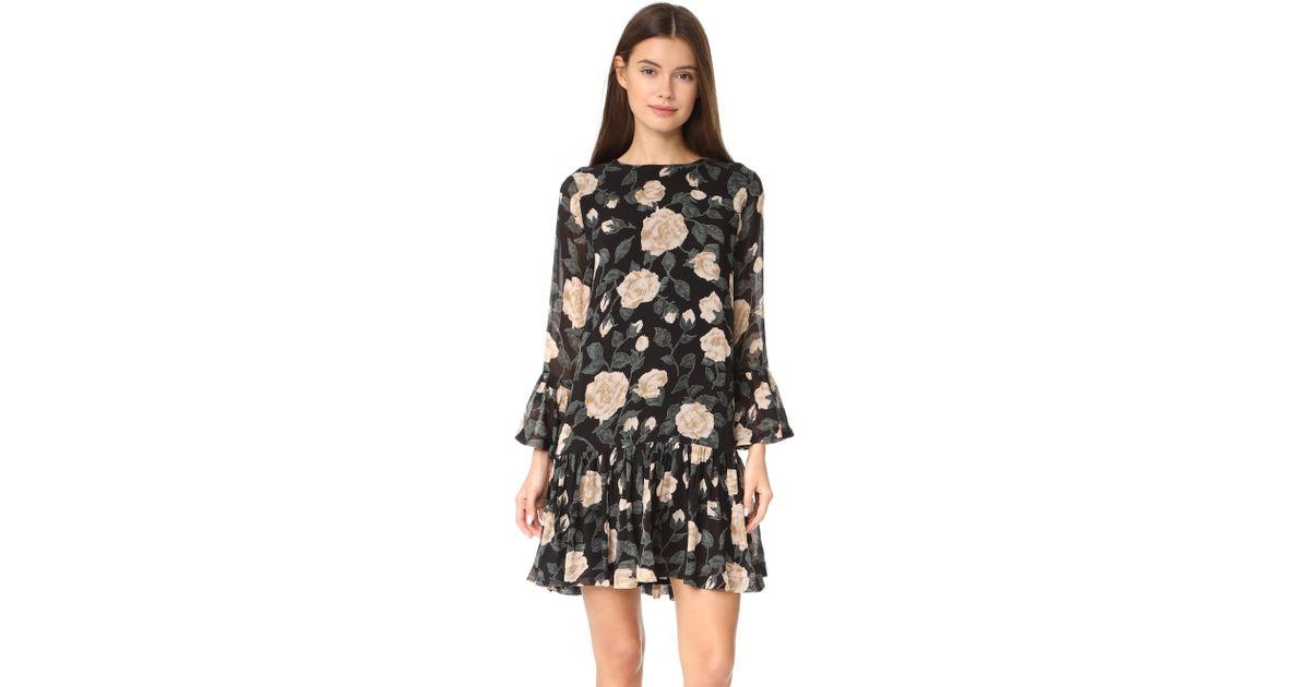 950cdcf4ab8 Ganni Carlton Georgette Dress in Black - Lyst