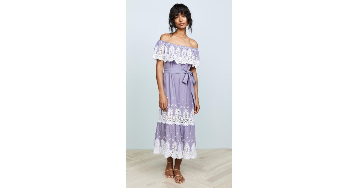 a458619e303c Lyst - Miguelina Liselle Off Shoulder Dress in Purple