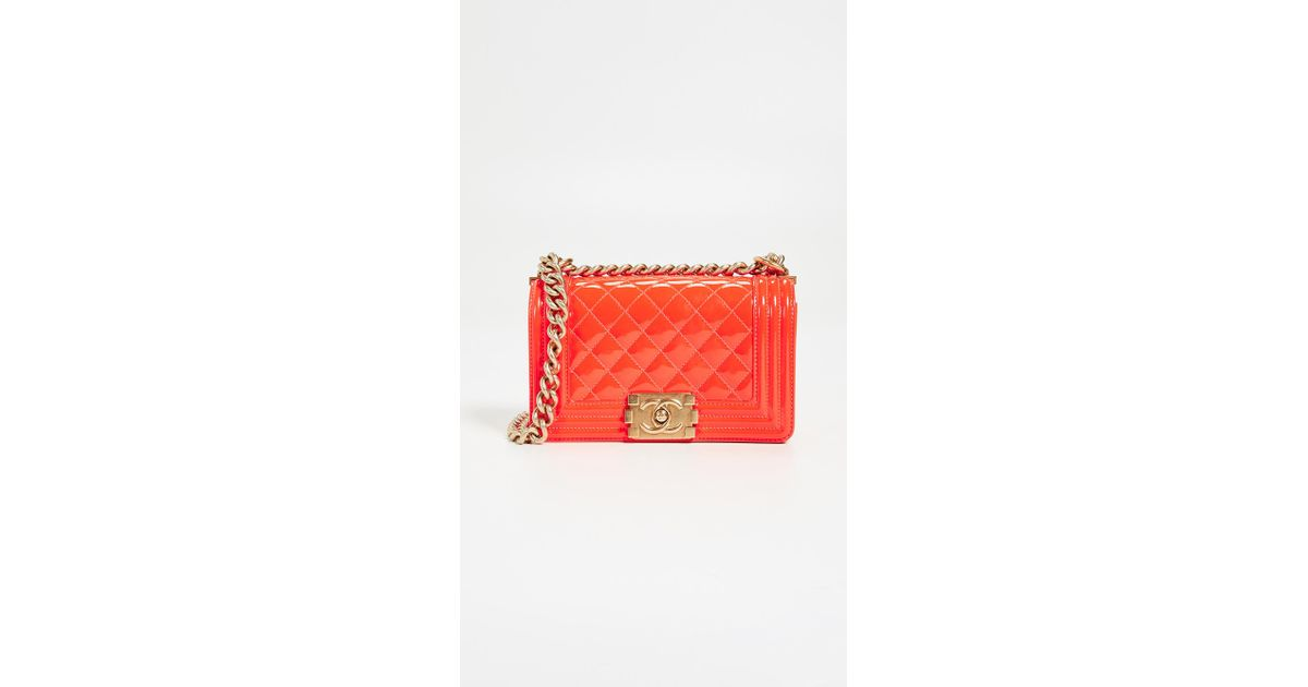 726368e64fd6 What Goes Around Comes Around Chanel Patent Boy Small Bag in Orange - Lyst