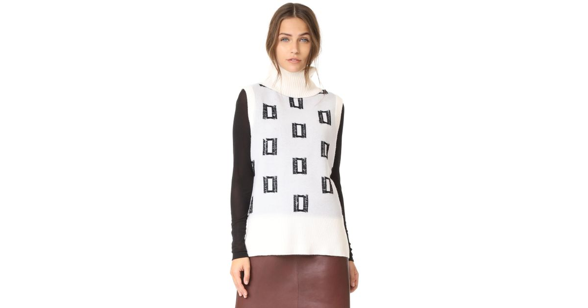 6ccf921cdc71f0 Lyst - 10 Crosby Derek Lam Sleeveless Turtleneck Shell With Fringe Detail  in White