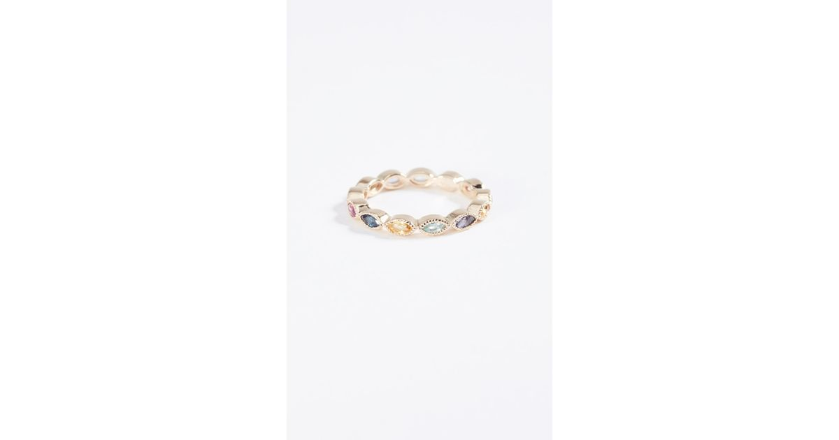 Eden Presley 14k Gold Marquise Eternity Candy Band Color Stones Ring r4aEir