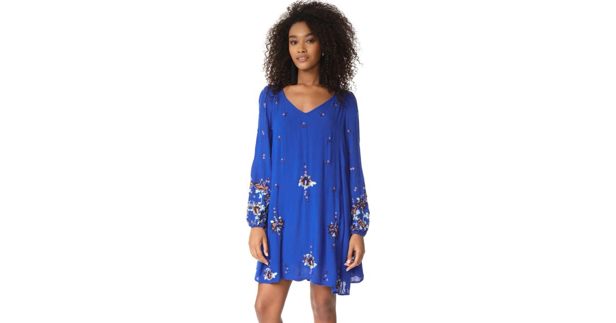 f2130e6cf6c9 Free People Oxford Embroidered Mini Dress in Blue - Lyst