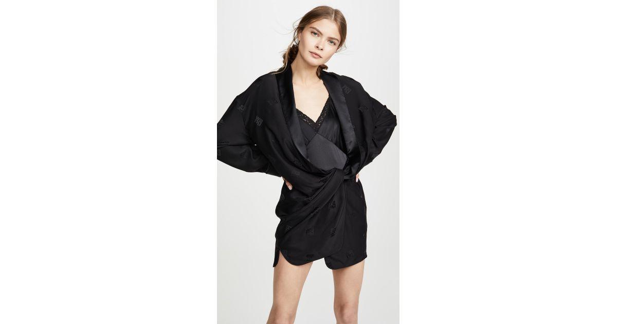 cdd04af40043 Alexander Wang Draped Pajama Romper in Black - Lyst