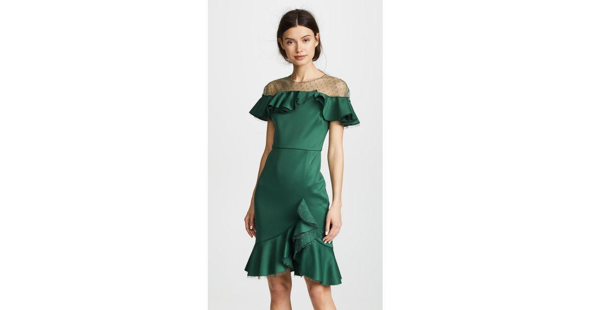 c2f2cd1a780 Marchesa notte Neoprene Cocktail Dress With Poin D esprit Yoke   Ruffles in  Green - Lyst