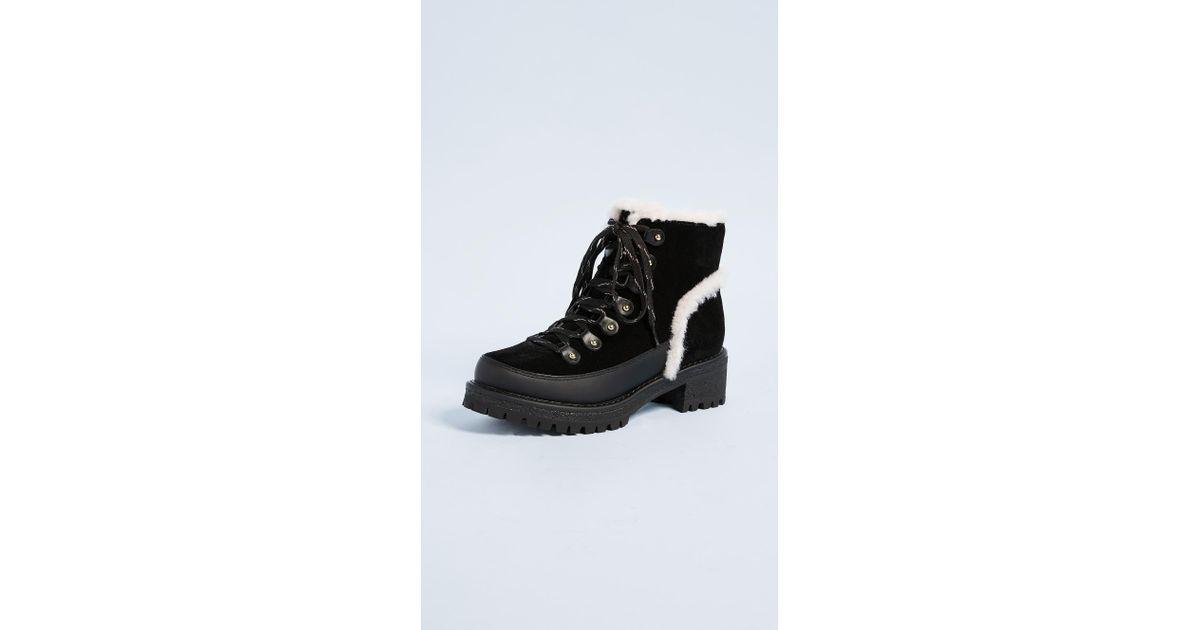 4e9e458d6eec Lyst - Tory Burch Cooper Shearling Booties in Black