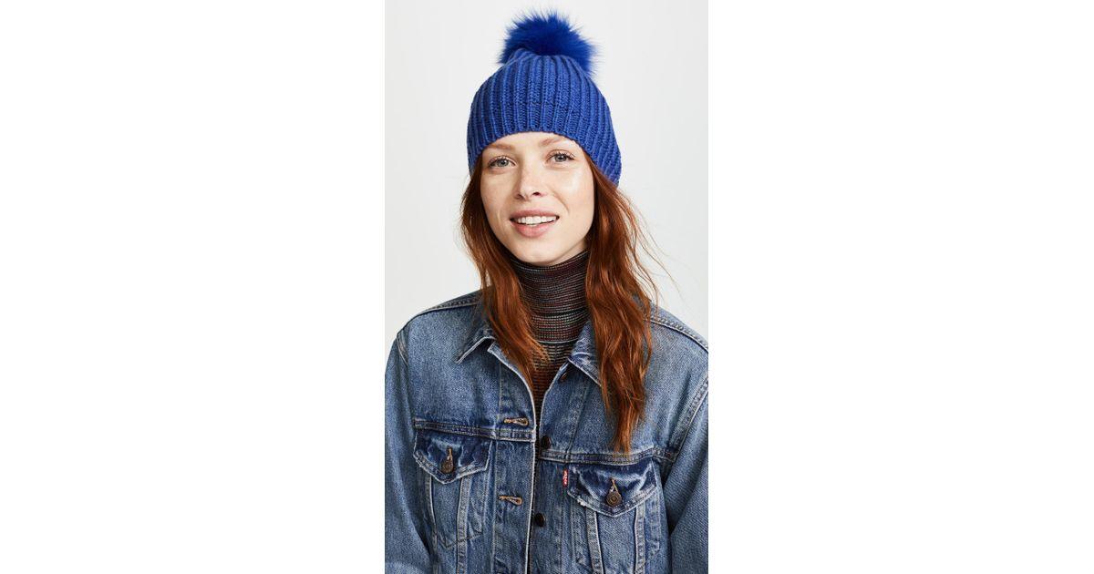 Lyst - Adrienne Landau Knit Hat With Fox Fur Pom Pom ea9a5e07156b