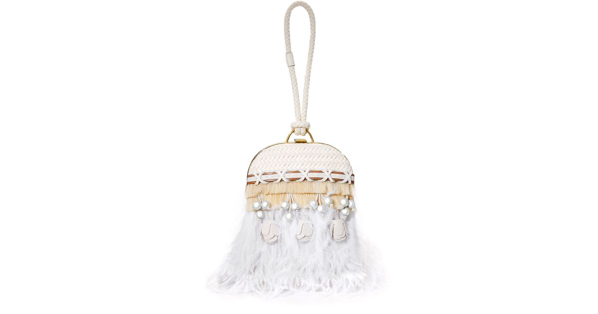 cdc30740ce80 Lyst - Tory Burch Embellished Feather Dome Clutch in White