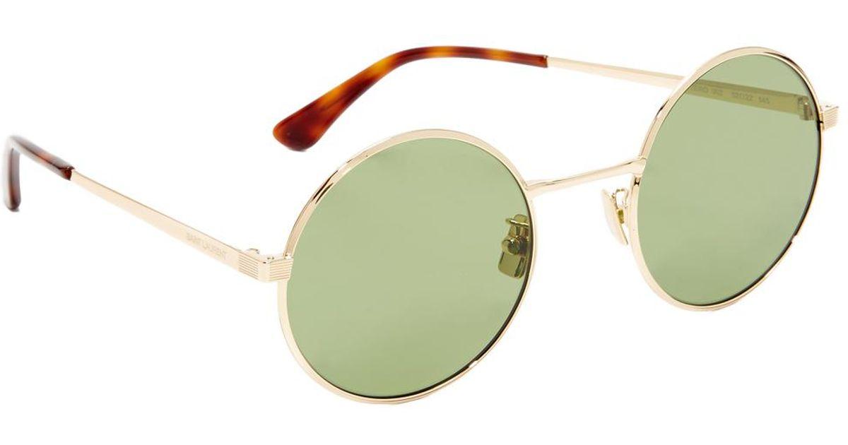 e13e94ff15 Saint Laurent Sl 136 Zero Base Mineral Lense Round Sunglasses in Green -  Lyst