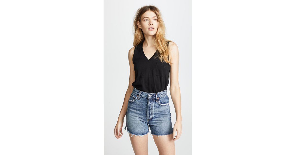 b0c265b9e00b6 Lyst - Madewell Whisper Cotton V Neck Pocket Tank in Black - Save 10%