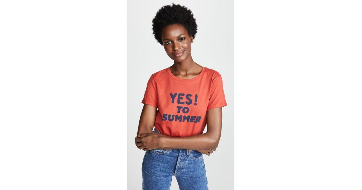 b6d53da81c61 A.P.C. Yes To Summer T Shirt in Red - Lyst