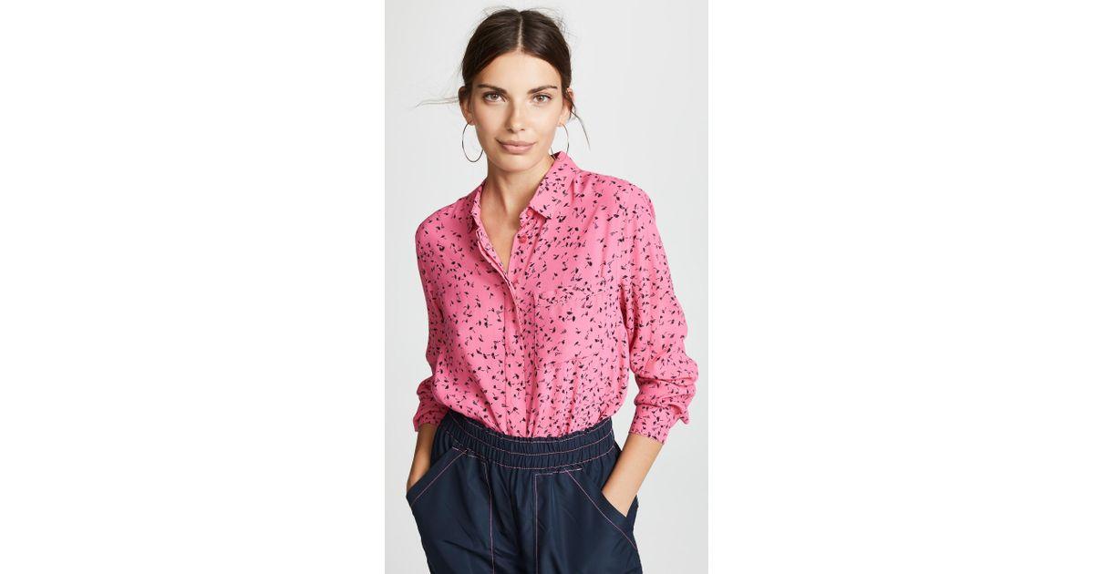 14553c9670 Ganni Barra Button Down Shirt in Pink - Lyst