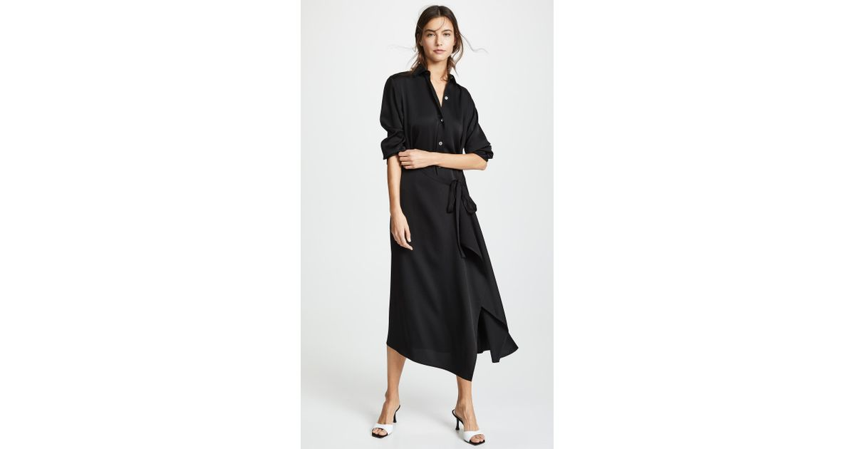 e8400dab5f1 Vince Tie Front Shirtdress in Black - Lyst