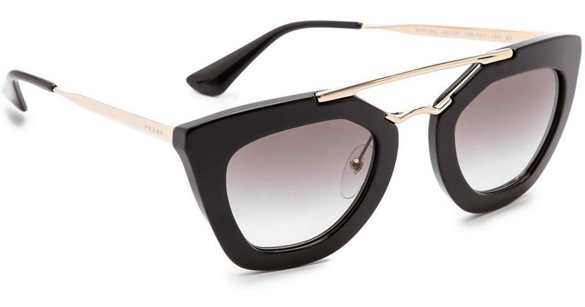 282226a71a83 Prada Thick Frame Sunglasses in Black - Lyst