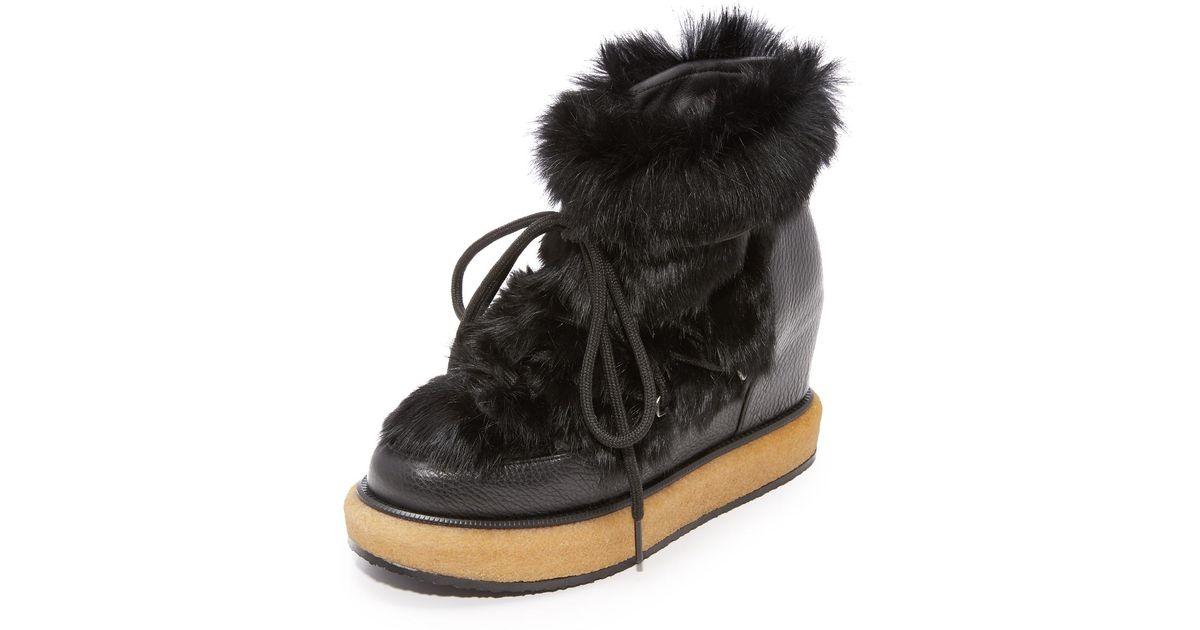 0083b325e0e Paloma Barceló Kansas Fur Wedge Booties in Black - Lyst
