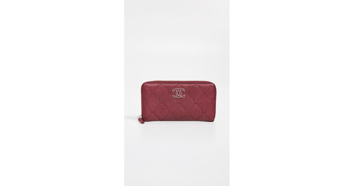 bf77fb84dacf84 Lyst - What Goes Around Comes Around Chanel Zip Around Wallet in Red