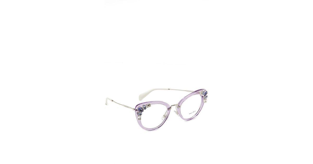 bfc940dd9a4 Lyst - Miu Miu Crystal Cat Eye Glasses