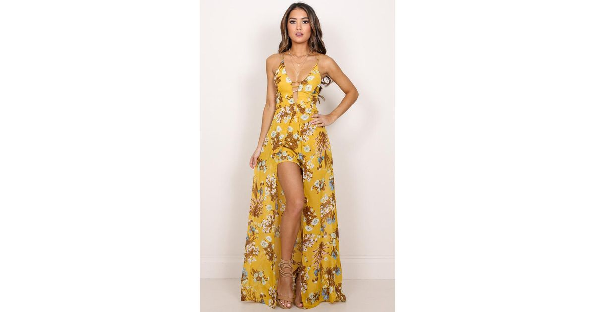 ec0fb6be0ea Lyst - Showpo Constantly Calling Maxi Playsuit In Mustard Floral in Yellow