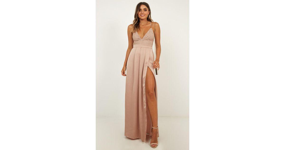 65fad096b887a8 Showpo Inspired Tribe Maxi Dress In Mocha Satin - Lyst