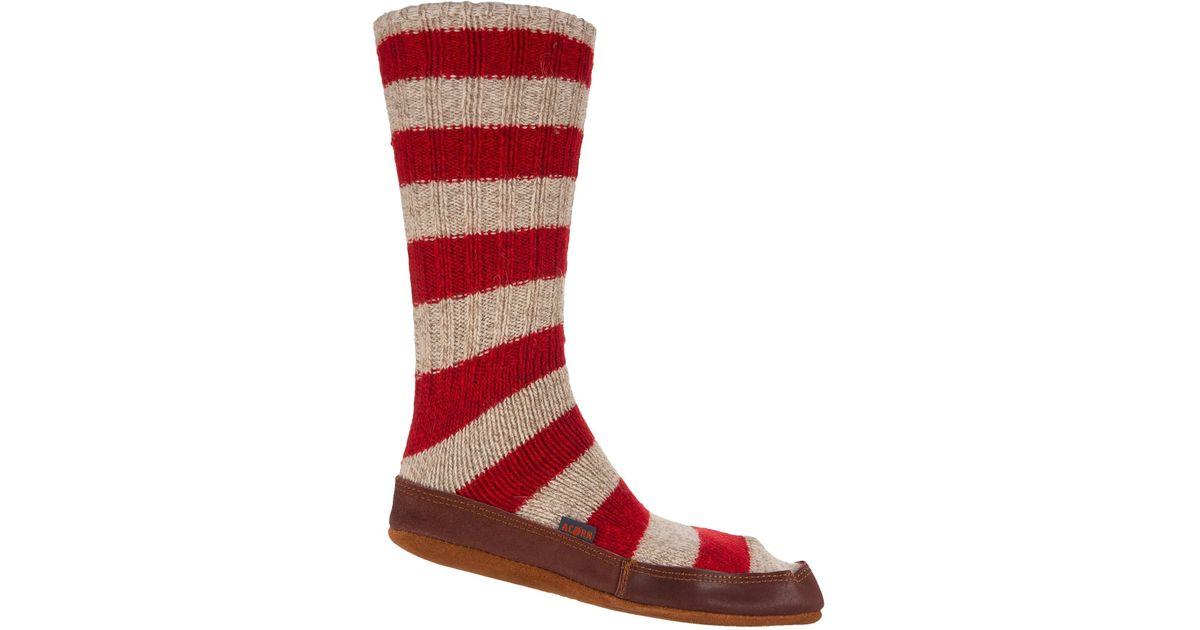 756762c85b2c2 Lyst Acorn Red Stripe Ragg Wool Slipper Socks In For Men